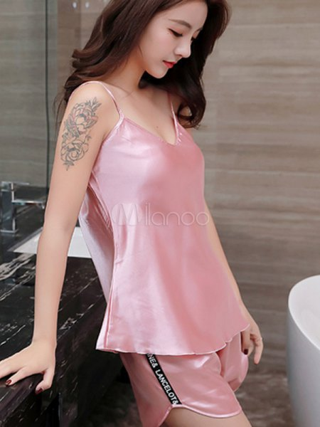 pink silk camisole with matching pajamas mini shorts