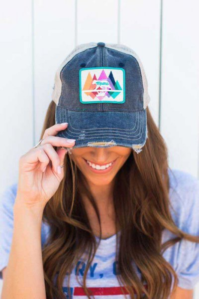 printed denim baseball cap with pink tee