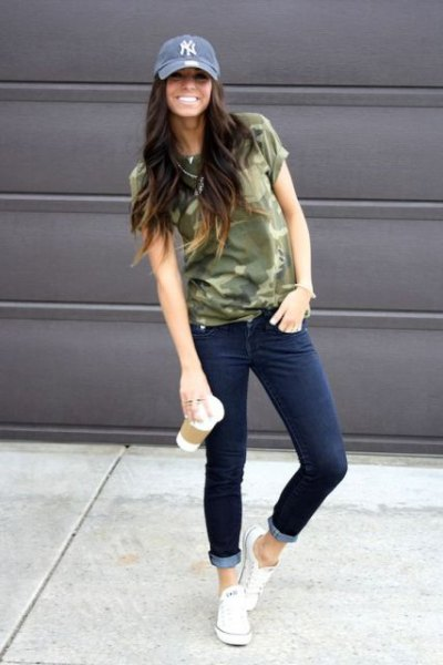 denim hat with camo t-shirt and jeans