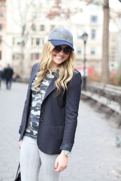 black blazer and camo t-shirt
