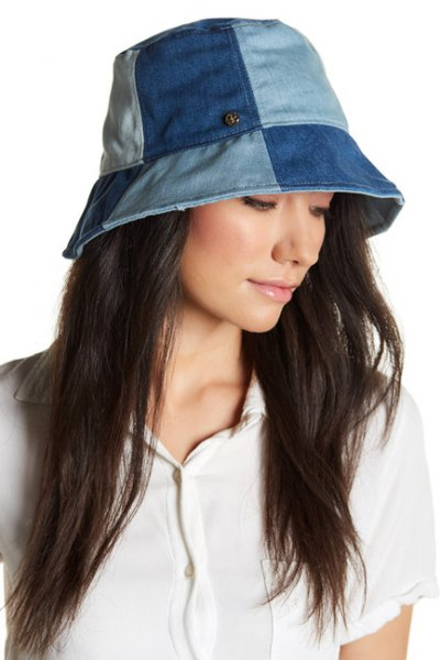 blue patch denim scoop hat with white polo shirt and cargo pants