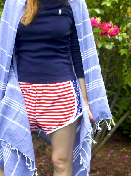 navy blue shirt with red and white striped shorts and blue kimono