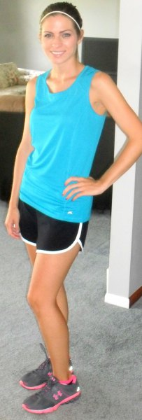 sky blue tank top with black and white running pants