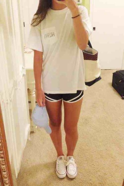 white big tee with black spring shorts