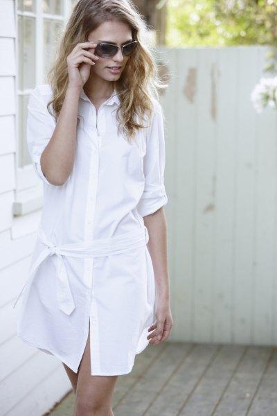 white half-heated button up tie in waist cotton mini dress