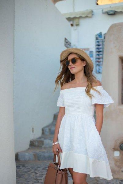 white from shoulder cotton mini skater dress