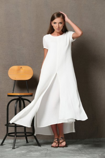 white maxi two-layer flared dress