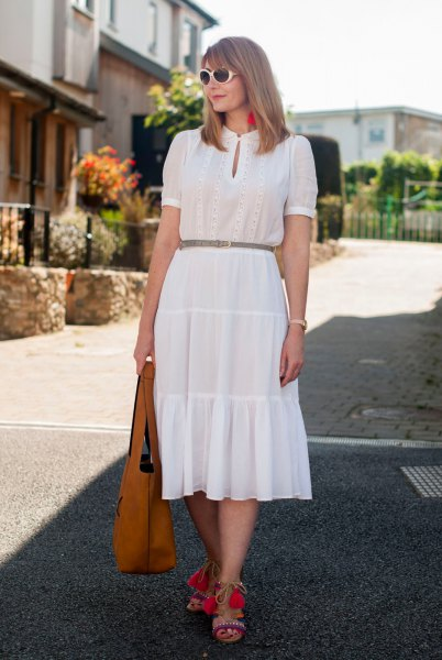 white key hole collected midi ruffle dress