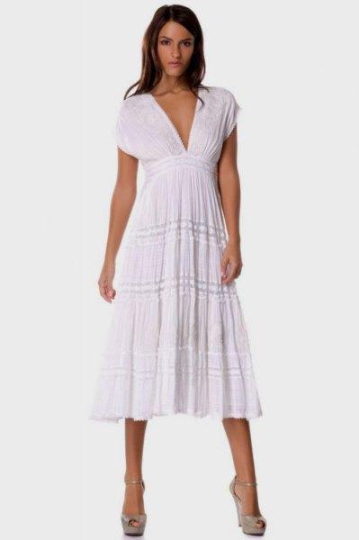 white deep v-neck empire midi blown dress