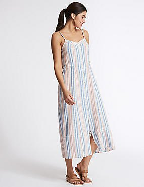 multicolored vertical striped maxi-extended dress