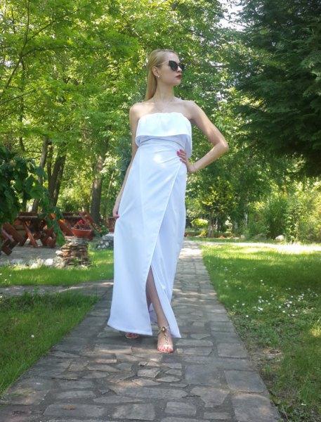 white shoulder strapless folded shoulder maxi cotton dress