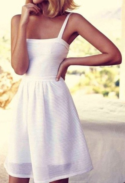 white tank fit and flare striped cotton midi dress