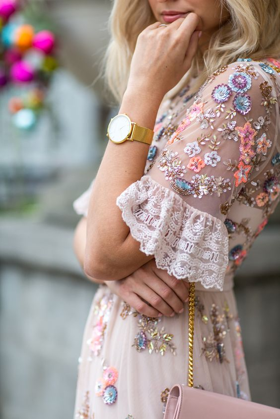 pink sundress ornate
