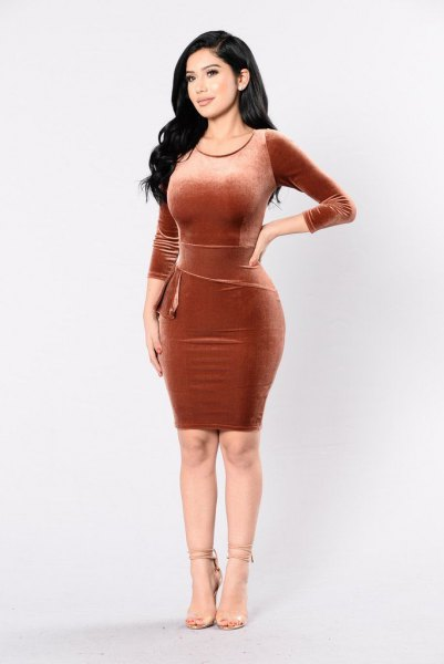 velvet mini bodycon bronze dress