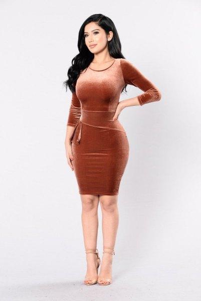 velvet mini bodycon bronze dress