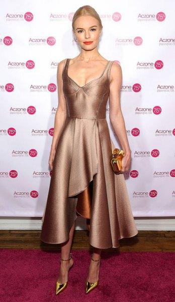 bronze deep v-neck high low flared midi silk dress