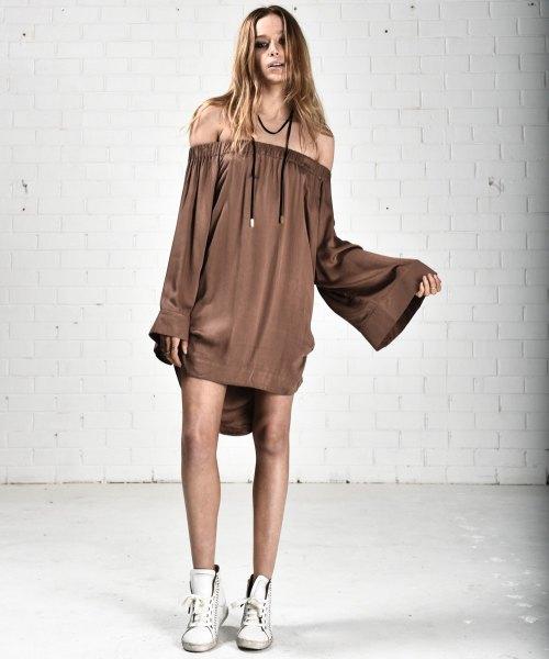 of the shoulder sleeve mini straight dress