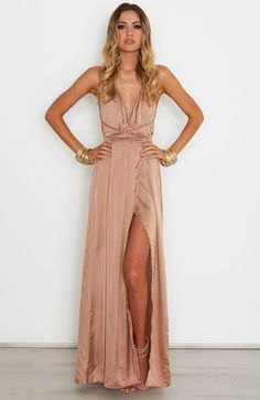 bronze deep v-neck pleated maxi dress of silk