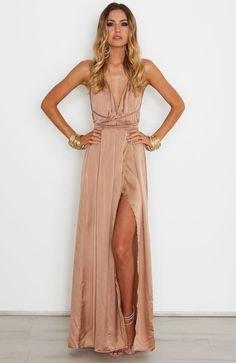 bronze deep v-neck pleated maxi dress of silk