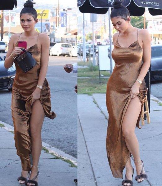 spaghetti strap v neck maxi high split dress
