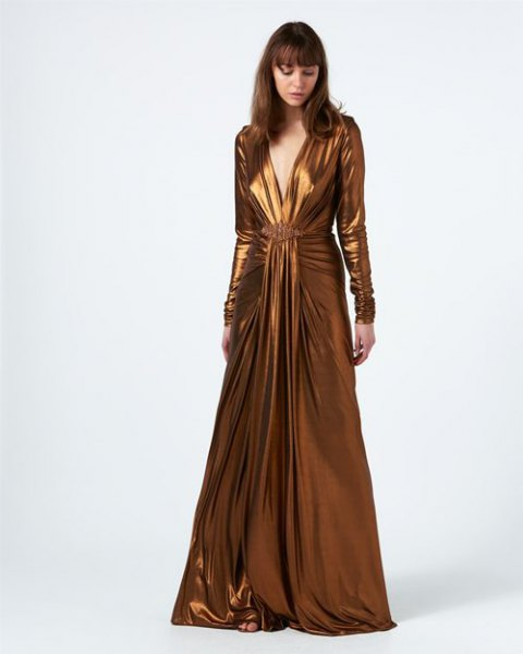 bronze floor length long sleeve flowing wrap dress