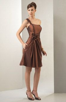 brown single strap tube fits and flush knee length dress