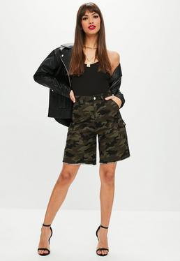 high waist camo shorts with black leather bomber jacket