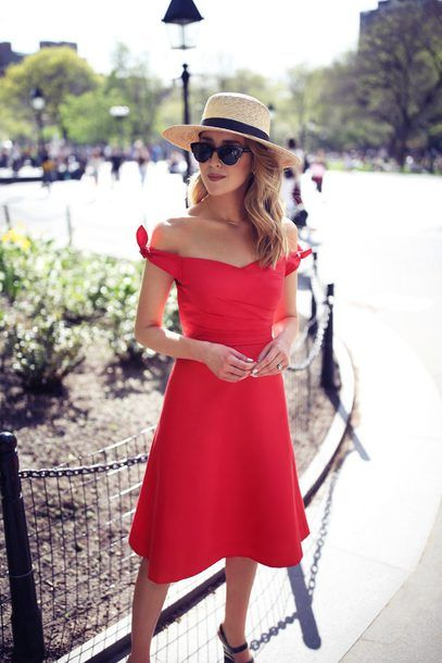red strapless dress straw hat