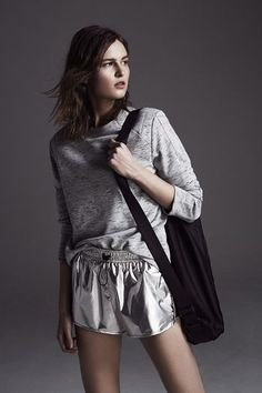 gray sweater with silver metallic floating shorts