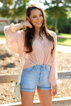 light pink chiffon shirt with light blue high waist shorts