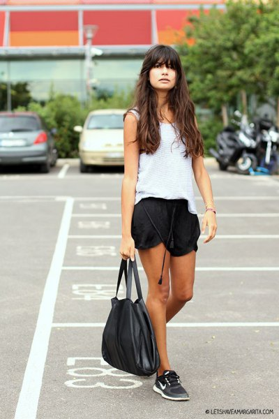white vest top with black silk running pants