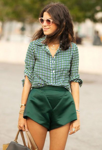 black and white checkered shirt with flowing silk mini shorts