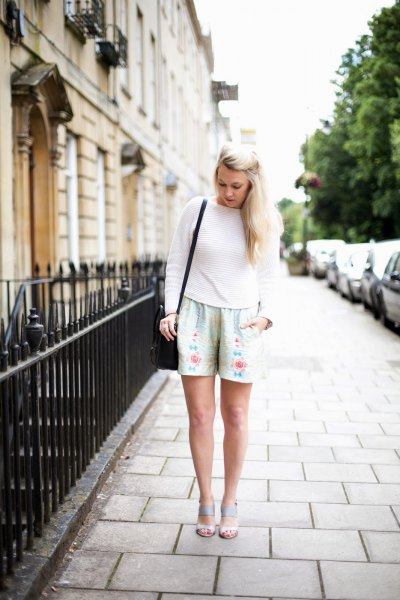 floral shorts with silver with knitted sweater in the crew neck