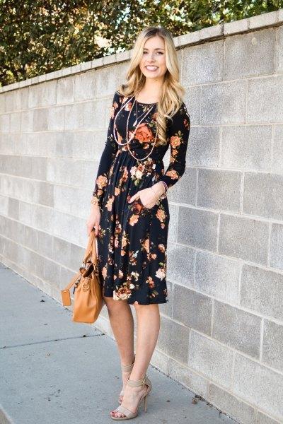 black floral gathered waist waist sheath dress
