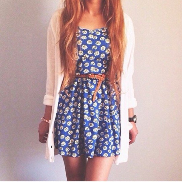 blue belt floral sundress with white cardigan
