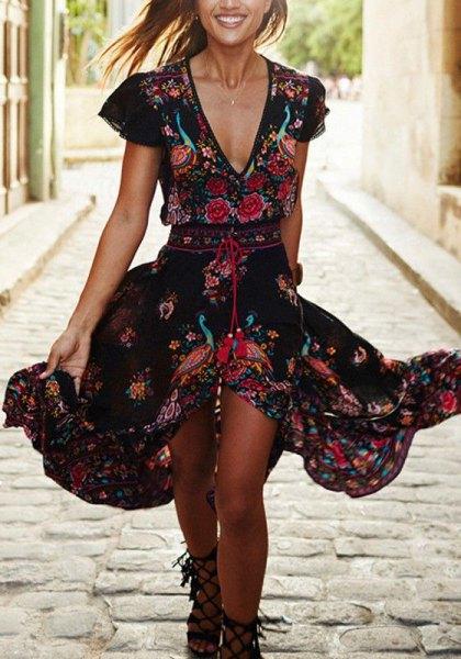 black deep v-neck floral ruffled midi dress
