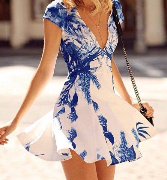 blue and white deep v-neck mini sundress