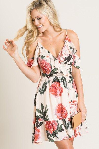 white deep v-neck cold shoulder flared mini floral sundress