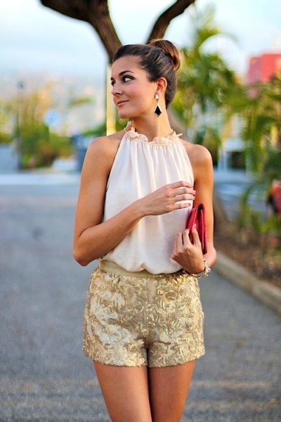 white halter chiffon top with pink embroidered silk dress shorts