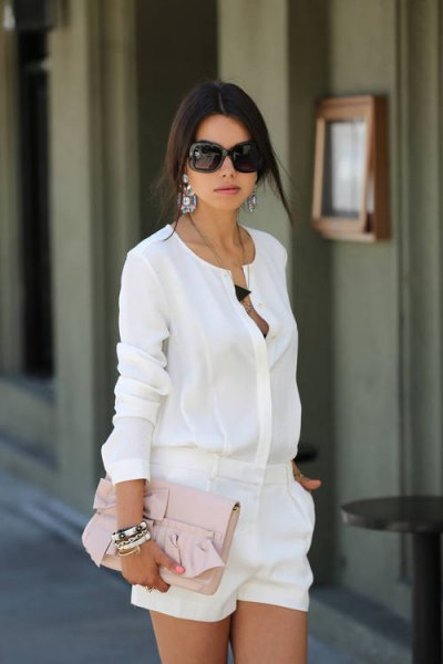 white dress shorts with matching chiffon shirt