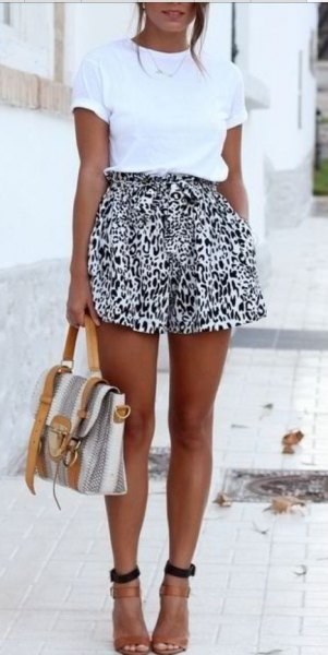white t-shirt with black leopard print shorts