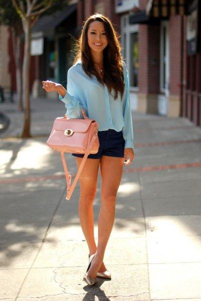 blue chiffon shirt with black mini shorts