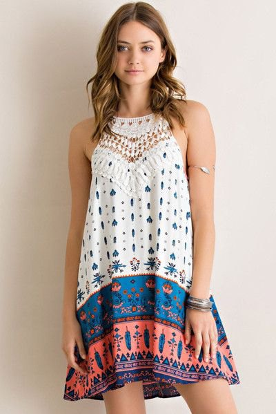 white blue and orange stem printed color block swing halter sundress