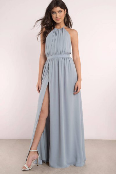 teal gathered waist high split maxi sundress