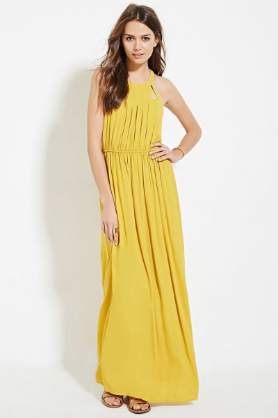 yellow gathered waist pleated maxi dress