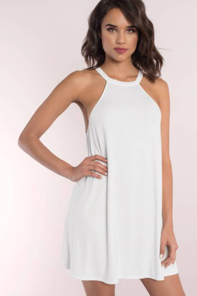 white halter mini shift sundress