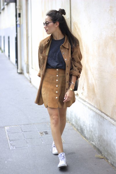 green jacket in oversized jacket with brown button front mini dress