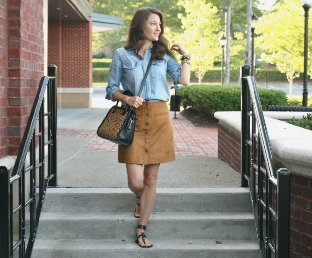 blue chambray shirt with brown suede mini button front skirt