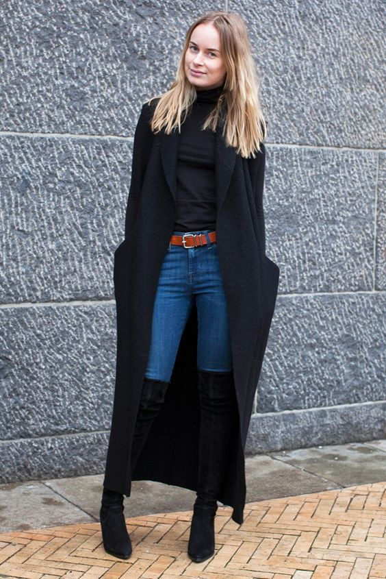 black duster skirt thigh high boots