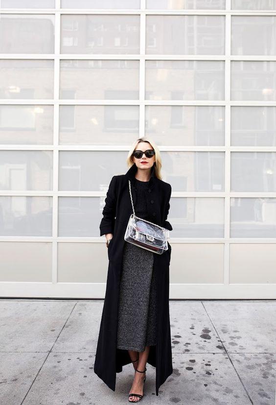 black duster rock tweed skirt